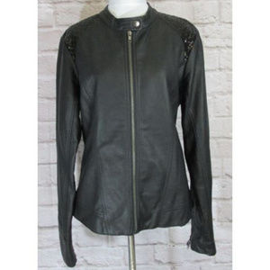 Maurices Motorcycle Jacket SZ L Black Faux Leather